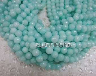 46 pcs beads 8mm round faceted dyed jade in Alice Blue color