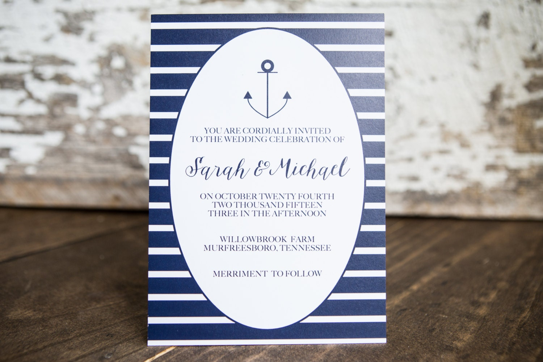 Anchor Wedding Invitation, Nautical Wedding Invitation, Navy ...
