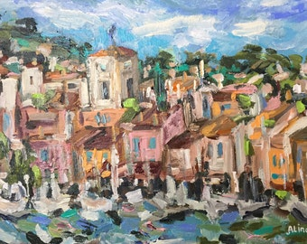 "Cassis original France cote d' azur painting 10""x14"" acrylics on canvas panel"