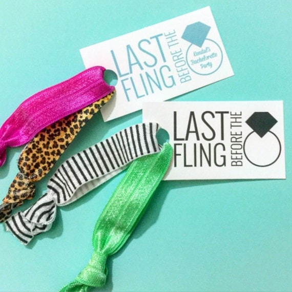 Last Fling Before The Ring Party Favor Tag Hair Ties