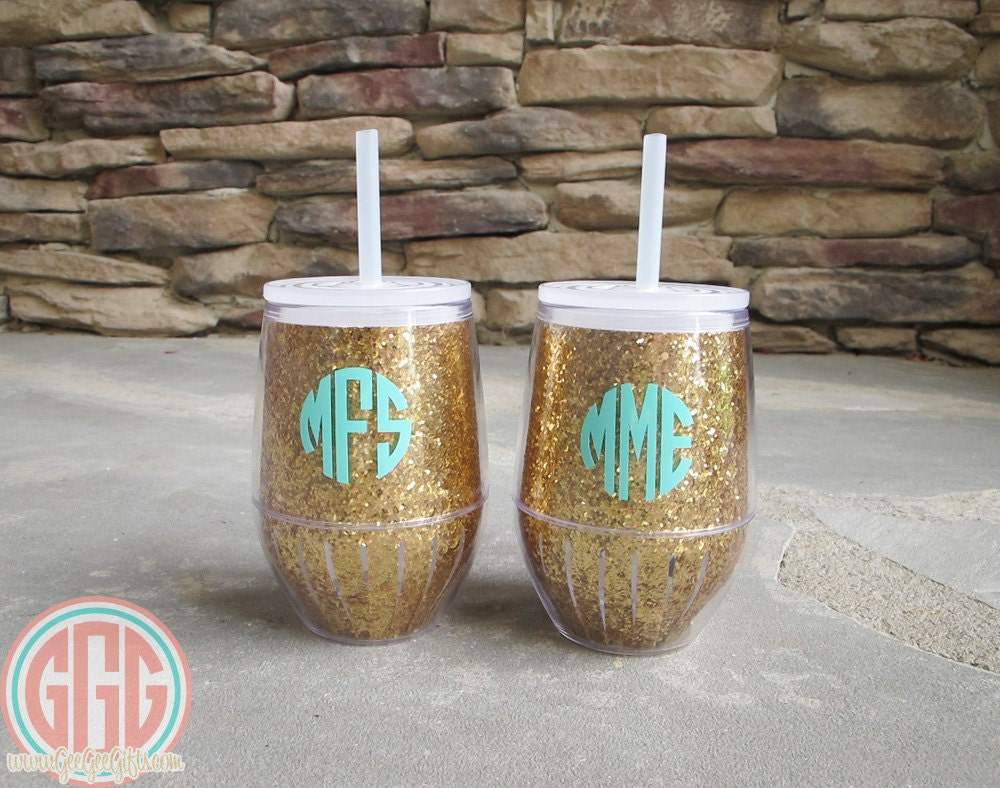 Monogrammed acrylic stemless wine tumbler - Insulated stemless wine glasses ...