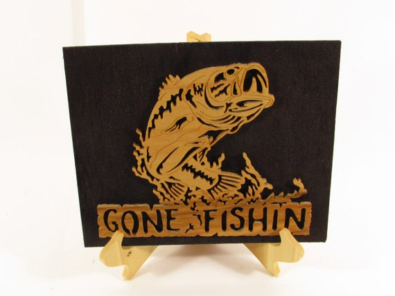 Items similar to Gone Fishing Word Art Wall Art Home