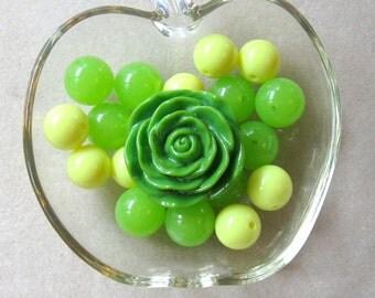 DIY Bead Kit, Bubblegum Beads, Acrylic Beads, Resin Beads, Craft Supplies, Rose Pendant, Girls Jewelry, Childrens Necklace, Chunky Beads