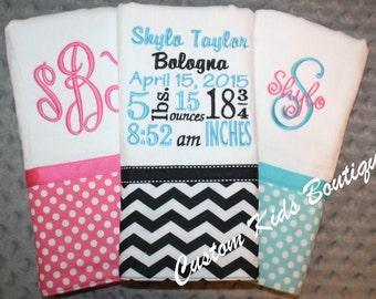 Polka Dot and Chevron Baby Girl Burp Cloth Gift Set- Set of 3 Custom Monogrammed Burp Cloths with a Birth Stats Burp Cloth