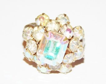 Aurora Borealis Rhinestone Glass Ring Size 6 adjustable