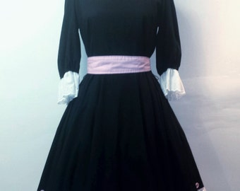 Vintage 1960s Party Dress - Black White and Pink