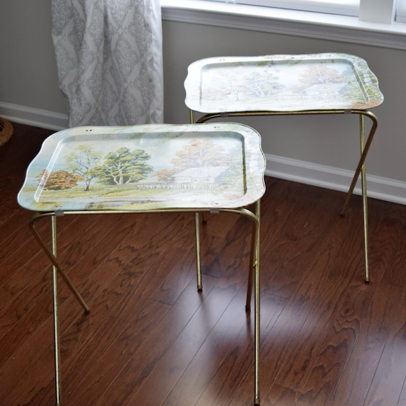 Vintage 1960's Metal TV Tray Tables with Painted Lake