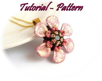 Beading pattern of beaded pendant Sejma, tutorial for beading  - PDF instructions, step by step