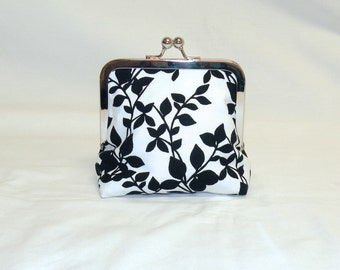 Palm Clutch With Kisslock Frame in Black and White Leaf Pattern