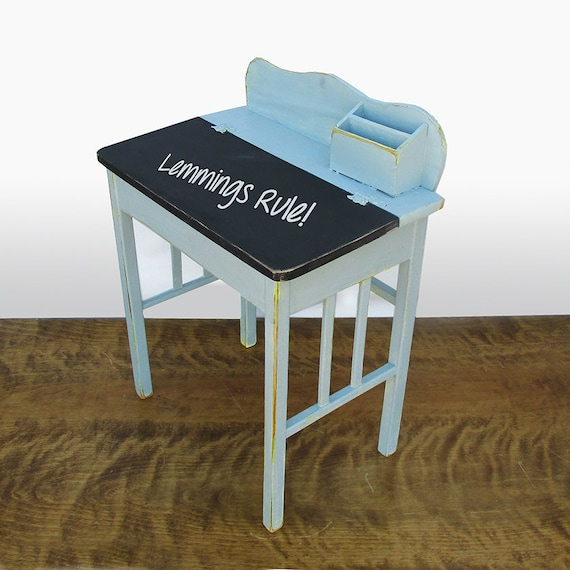Childs Wooden Desk School Desk Shabby Robins Egg Blue