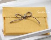 set of 10 yellow CD DVD linen envelope packaging