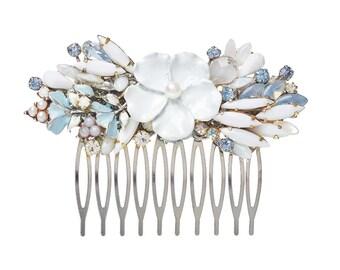 Bridal haircomb - wedding hair accessories  - bridal hair piece - romantic haircomb in pale blue and white - something blue white hair piece