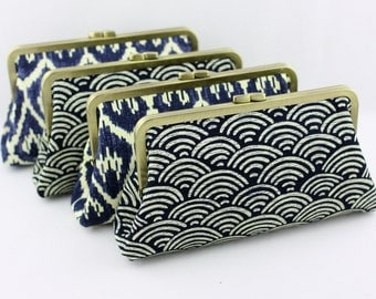 Rustic Navy Bridesmaids Clutch / Rustic Navy Wedding Clutches / Retro Style Bridesmaid Clutches - Set of 4