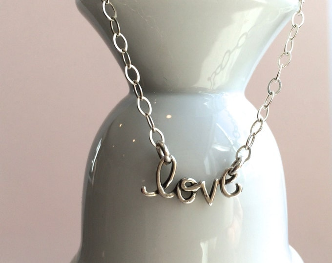 Love Script Silver Necklace--Perfect For Valentine's Day