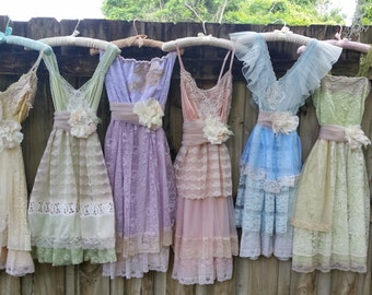 Custom Bridesmaid dresses, mix and match, mismatched, dress, sherbert, wedding, vintage, lace, handmade, slip, cap sleeves, strapless