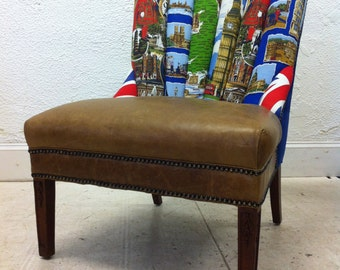 British Tourist Linen and Leather Upholstered Vintage Chair