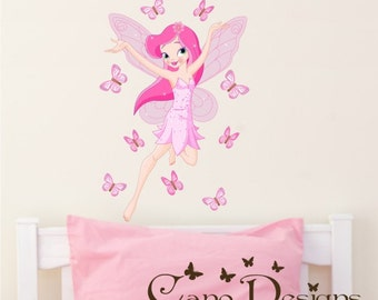 Wall Decal, Fairy and butterflies  Reusable Fabric  decal set, Removable, reusable and repositionable fabric decal