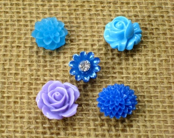 Push pin set, thumbtack, set of 5 mixed color floral cabochon pins for bulletin boards, or choose magnets for your magnetic or chalkboard