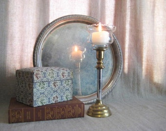 Hollywood Glam Brass and Chrome Candle Holder with Wheat Glass Votive