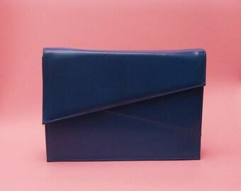 Vintage 70s 80s Structured Bag // Blue Purse // Blue Clutch // Minimal Bag