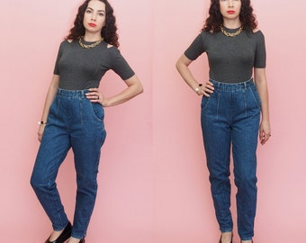 Vintage 80s 90s Mom Jeans // Pleated jeans // High Waist Jeans // Tapered jeans // Skinny Jeans // Small-Medium