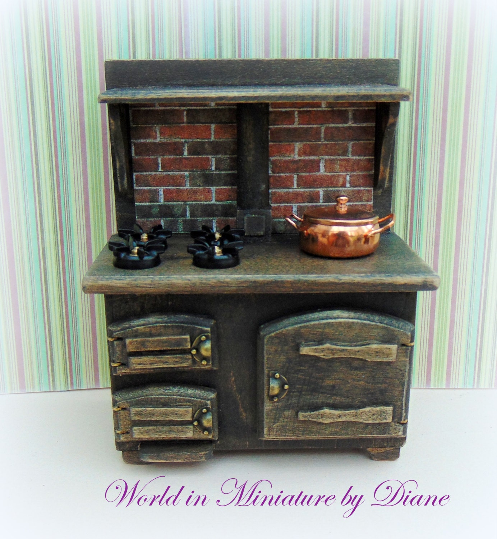 Dollhouse Range Cooker Dark Oak Rustic Furniture Dolls House
