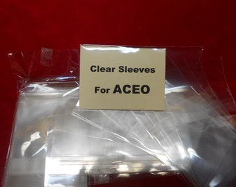 Clear Sleeves for ACEO Photos/Art Resealable Crystal Clear Bags