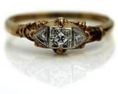 Vintage Engagement Ring 0.20ctw Antique Diamond Ring 14K Two Tone Gold Ring Filigree Antique Diamond Wedding Ring Size 5!