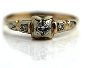 Vintage Diamond Engagement Ring 14K Two Tone Ring Dainty Ring Promise Ring 1930s Ring Estate Ring Size 5.5!