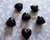 Jet Black Heart Charms Pendants or Earring Findings - 9mm with Brass Loop - Qty 10