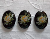 Vintage Decal Picture Stones - Yellow Rose on Black Cameo -  18 X 13mm Glass Cabochons - Qty 6