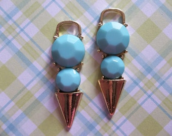 Opaque Turquoise & Gold Spike Pendants - Blue Daggers - 15mm X 47mm - Qty 2