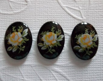 Yellow Rose on Black Vintage Cameos - Decal Picture Stones -  18X13mm Glass Cabochons - Qty 6