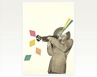 Music Art Print. Jazz Musician - Blue Note