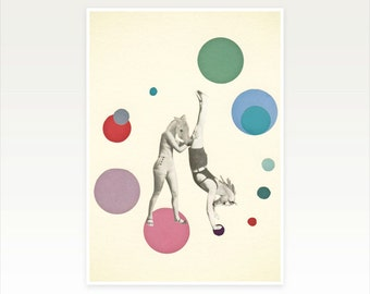 Anthropomorphic Art, Surreal Horse Print, Retro Wall Art, Pop Art Poster, Collage Art Print - Horsing Around