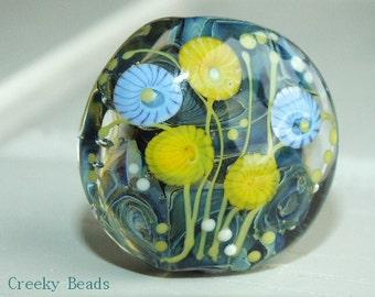 Handmade Lampwork Focal bead - 'Ocean flowers' - Creeky Beads SRA