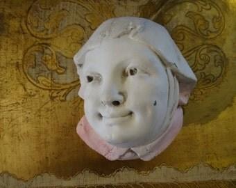 Vintage Shabby Cottage Chic Nun Match Holder Bust