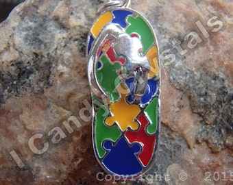 Flip Flop Autism Awareness Necklace You'll Never Walk Alone