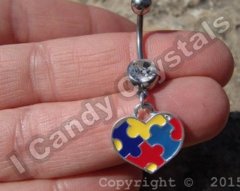 Heart Charm Belly Button Ring