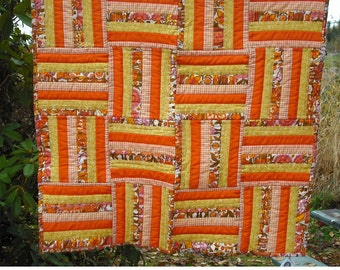 Lap Quilt Wall Hanging Tapestry Baby Crib Patchwork Quilted Fabric Lined Cotton Yellow Orange White Country Picnic Decor Cover Blanket