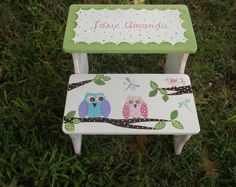 Steps and Stools Custom STEP STOOL Pink Owls Birds Kids and Baby  Furniture Stepstool Bathroom