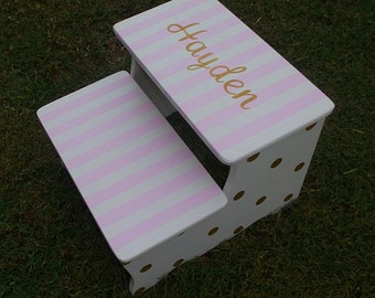 Step Stool Pink and Gold Dots Kids Furniture Bathroom Step Stool Childs Home and Living