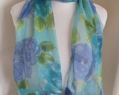"Beautiful Green Blue Floral Sheer Soft Poly Scarf - 13"" x 60"" Long"