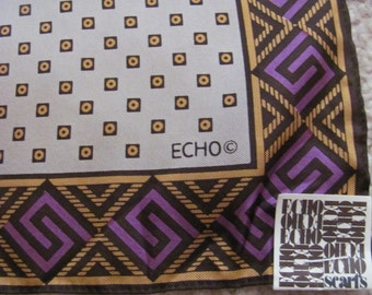"""ECHO // Beautiful Small Silk Pocket Scarf  // 11"""" Inch 28cm Square // Unused NWT"""