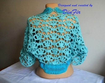 SALE Oversized BOLERO SHRUG / Wedding Accessories Gift Ideas Crochet Cape Elegant Jacket / Women Vest Cardigan Hand Knitted Capelet Sweater