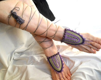 CROCHET BAREFOOT SANDALS / Barefoot Sandles Shoes Beads Victorian Anklet Foot Women Wedding Accessories Elegant Beach Wear Chic Boho Hippie