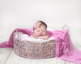 Pink Floral headband, baby headband, newborn headband, baby girl prop, photography prop, girl headband
