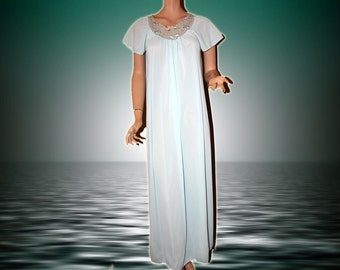Vintage Nightgown Long Aqua With Embroidered Chiffon S