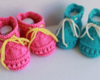 Hand Knit Summer Baby Booties. Cotton Baby Booties. Pink Knit Booties. Knit Blue Booties. Turquoise Baby Booties.