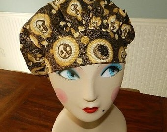 Gold Celestial on Black Banded Bouffant Surgical Cap